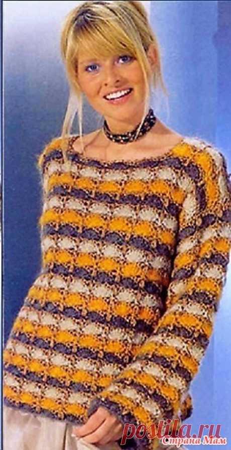 Полосатый пуловер. Крючок. https://zen.yandex.ru/