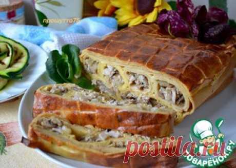 Блинный пирог с курицей и грибами - кулинарный рецепт