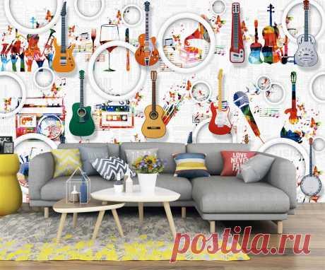 3Д фотообои с гитарами и объемными кругами. Сюжет подойдет для комнаты подростка