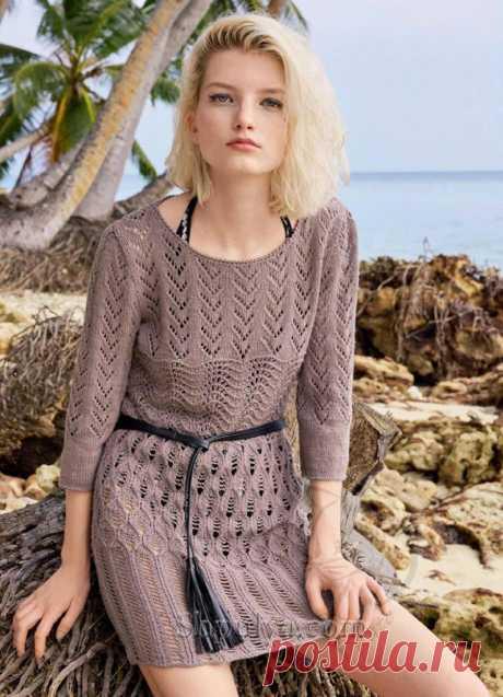 Ажурное летнее платье с миксом узоров — Shpulya.com - схемы с описанием для вязания спицами и крючком