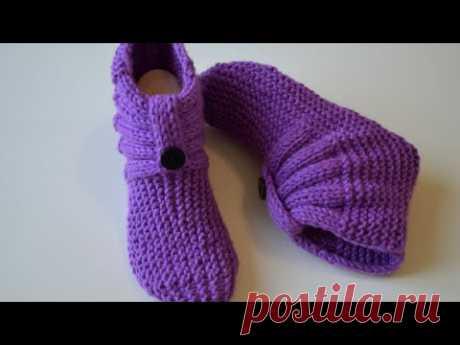 Симпатичные носочки спицами / одним полотном
