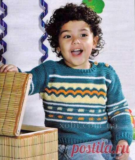 Детские пуловеры, свитера и джемпера вязаные спицами и крючком » Страница 7