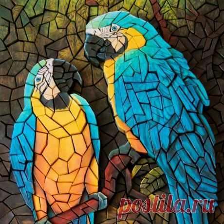 Объёмная бумажная мозаика «Попугаи» – купить на Ярмарке Мастеров – 7DIOFRU | Картины, Челябинск