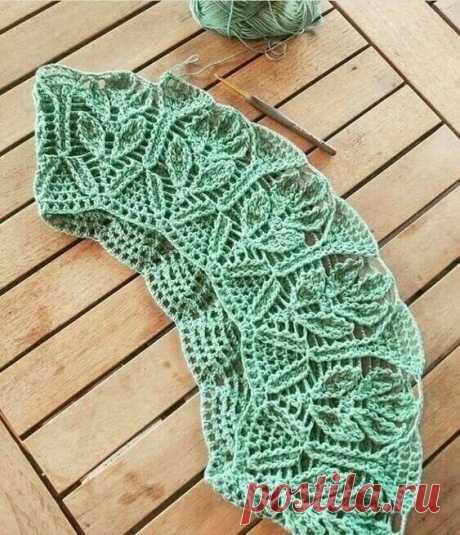 Красивая ажурная кокетка с листьями крючком | Создавай сам | Яндекс Дзен
