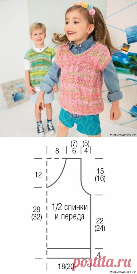 Нежные детские жилеты с косами: вяжем спицами