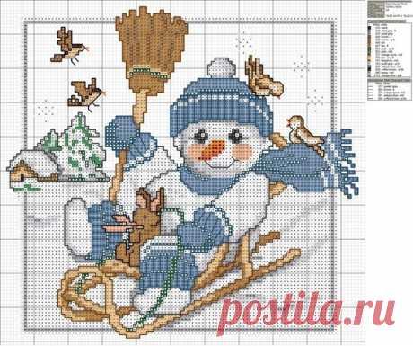 Новогодняя вышивка крестом, схемы снеговиков / Вышивание крестом, вышивка лентами - схемы вышивки, мастерклассы / Ёжка - стихи, загадки, творчество и уроки рисования для детей
