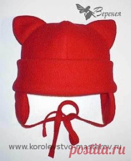 Шьем детскую шапочку из флиса с ушками!