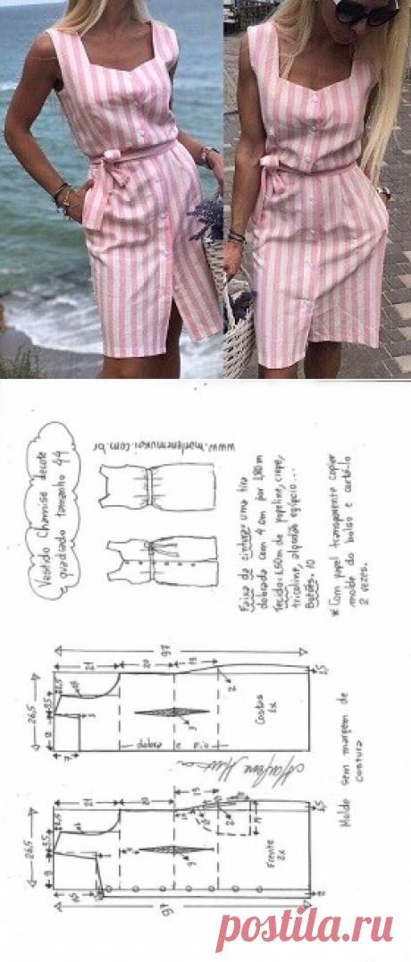 Vestido chamisie com decote quadrado - DIY - molde, corte e costura - Marlene Mukai