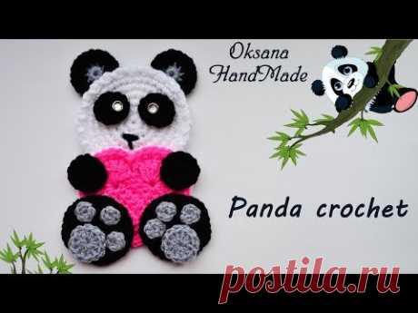 Аппликация крючком Панда с сердечком. Мастер класс и схема. Panda crochet with heart