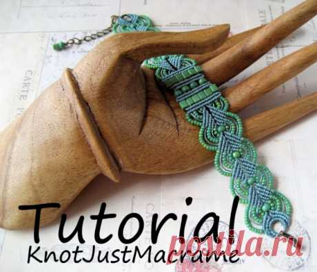 Macrame Micro the Textbook Leaves Pattern Bracelet from KnotJustMacrame