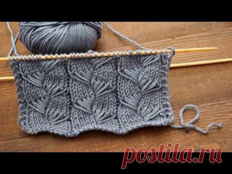 Узор с вытянутыми петлями спицами 🔮 New knitting pattern