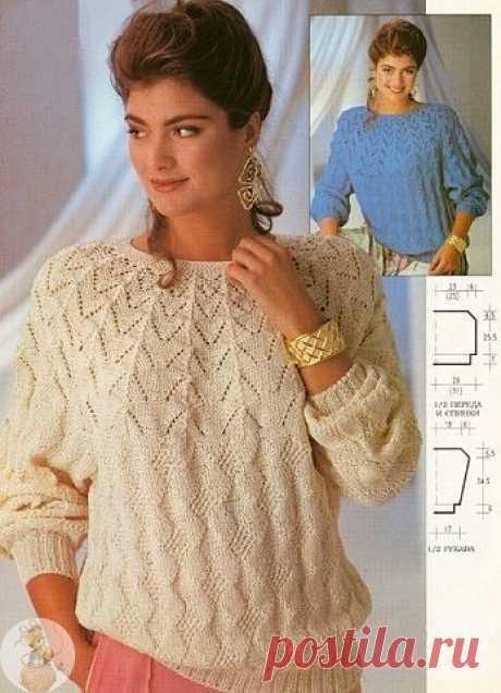 Ажурный пуловер  Интересно смотрится пуловер и вяжется не сложно.    Размеры: 38/40 (42/44)  Вам потребуется: хлопчато-вискозная пряжа (дл. 120 м/50 г) натуральная или голубая 700 (750) г, круговые спицы № 3 и № 3,5.  Резинка (спицами № 3): попеременно 2 лиц. п. и 2 изн. п.  Узор планки (спицами № 3): попеременно 1 круг лиц. п. и 1 круг изн. п.  Все последующие узоры вязать спицами № 3,5.  Основной узор: вязать по схеме 1.  Узор кокетки: вязать по схеме 2.  Плотность вязан...