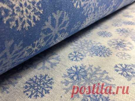 150 см. Новогодняя ткань жаккардовая со снежинками синяя – купить, цена ткани новогодней в интернет-магазине