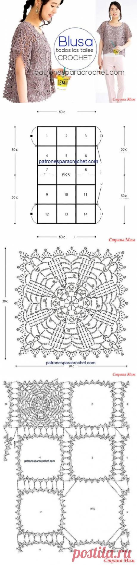 Ажурная кофточка из объемных цветочных мотивов - Все в ажуре... (вязание крючком) - Страна Мам
