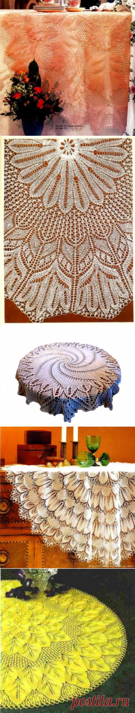 Коллекция ажурных скатертей, связанных спицами