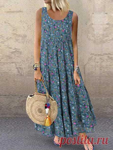 Fashion O-NEWE Чешское платье макси с цветочным принтом без рукавов {- NewChic Русский