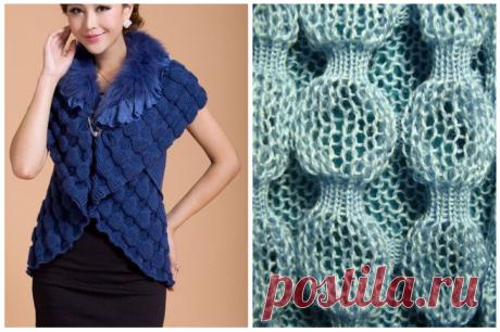 Очень красивый объемный узор для свитеров и кардиганов