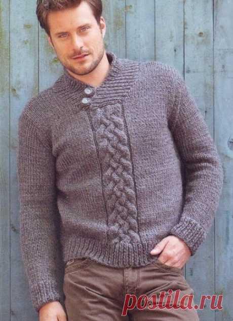 Мужской пуловер c плетеным узором | Knitting-cluB  Вязание для Вас спицами и крючком