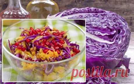 Салат «Радужный», с краснокочанной капустой