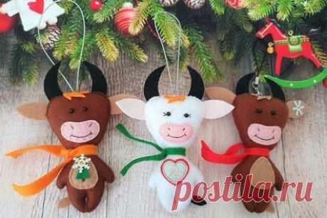 Бычок из фетра своими руками: 8 идей новогодней игрушки (выкройки)
