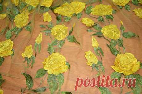 Вышивка на сеточке, желтые розы-аппликация-D&G - купить ткань онлайн через интернет-магазин ВСЕ ТКАНИ