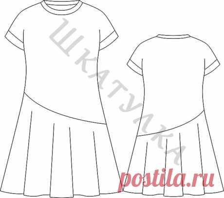 Выкройка платья с воланом для девочки KD060320 | Шкатулка