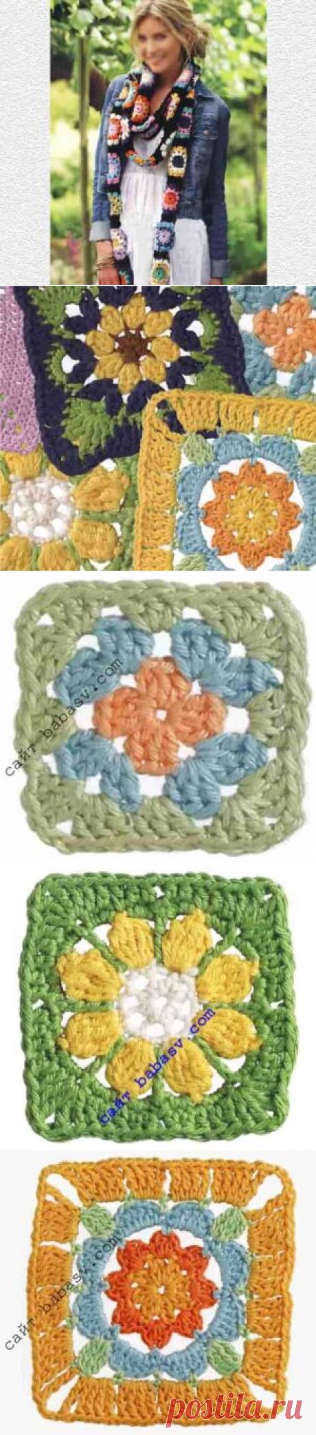 Гирлянда цветов: 8 мотивов крючком и шарф, описания и схемы