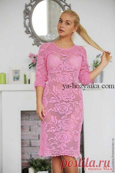 Шикарное филейное платье схемы. Схемы филейного вязания крючком платья