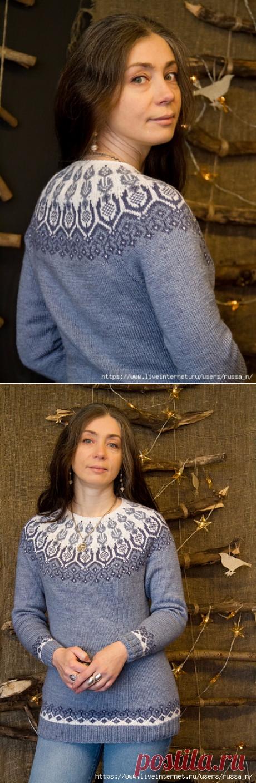 Пуловер с жаккардовой кокеткой Frost Icy Flowers by Iaroslava Rud