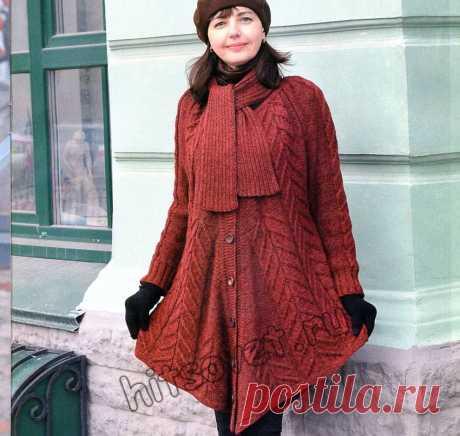 Вязаное пальто пончо - Хитсовет Модное вязаное пальто пончо для полных женщин со схемой и пошаговым описанием вязания.