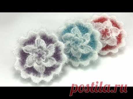[코바늘뜨개crochet]  러블리별호빵수세미뜨기 Lovely stars Flower Crochet