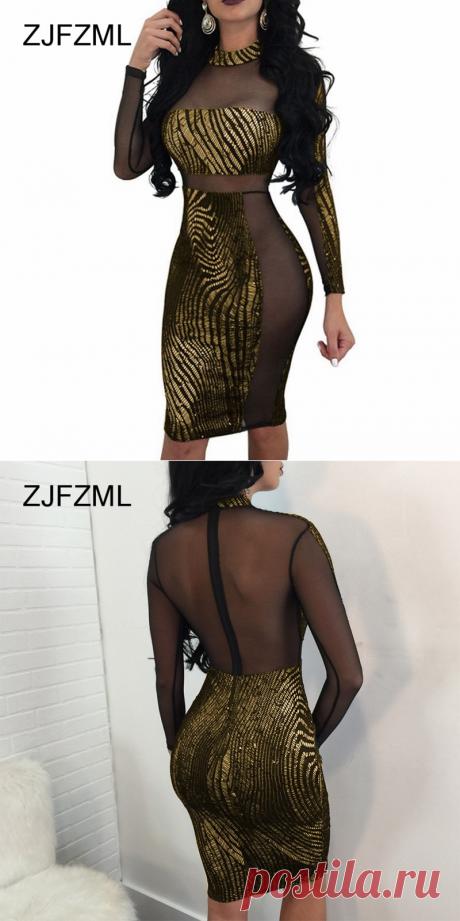 ZJFZML Для женщин бронзовая повязка платье Сексуальная See Through сетки мини платье вечерние клуб с длинным рукавом облегающее платьекупить в магазине Doremo StoreнаAliExpress