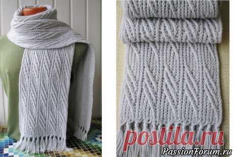 Узоры в для мужского шарфа спицами