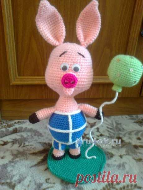 Knitted toy Piglet. Tamara's work - knitting by a hook on kru4ok.ru\u000d\u000aor http:\/\/kru4ok.ru\/pyatachok-kryuchkom-rabota-ksenii\/