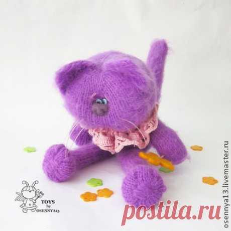 Кот Сиренька - сиреневый,котенок,котик,веселый котик,авторская игрушка
