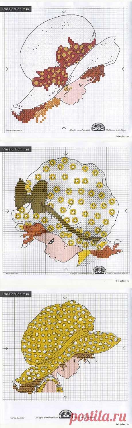 Девочки в шляпках  Схемы вышивки крестиком