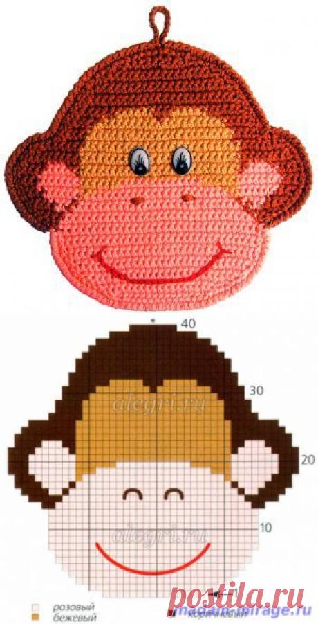 Как связать прихватку обезьянку крючком | Остров вязаной игрушки