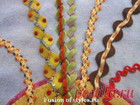 Образцы использования тесьмы-змейки в отделке изделий