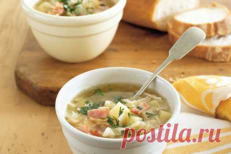 Cabbage, bacon and potato soup