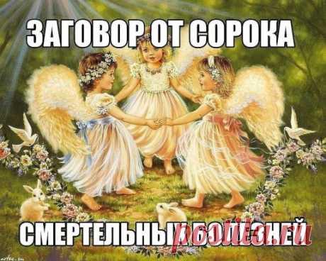 """Заговор от сорока смертельных болезней: Читают на убыльную луну громко, чётко, не на что не отвлекаясь и не сбиваясь. (этот заговор помогает при любых тяжёлых заболеваниях) """" Ангелы небесные, ангелы святые, возьмите и отнесите Господу Богу, Иисусу Христу, все мои слова, всю мою просьбу. Во имя Отца и Сына и Святого Духа. Аминь.Люди болеют, люди страдают, люди умирают, кто эти болезни считал, кто э"""