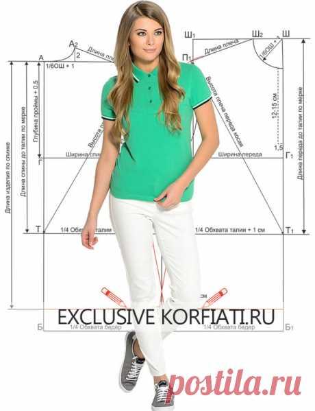 Выкройка футболки поло от Анастасии Корфиати
