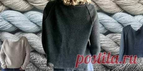 Пуловер реглан спицами сверху EasyLine Лёгкий широкий пуловер для женщин, связанный спицами сверху вниз, с формированием регланом. Пуловер реглан спицами сверху с боковыми разрезами.