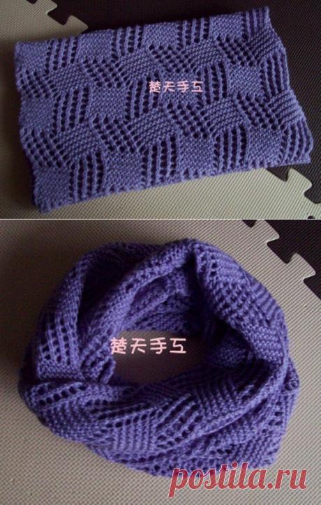 Красивый шарф-снуд спицами