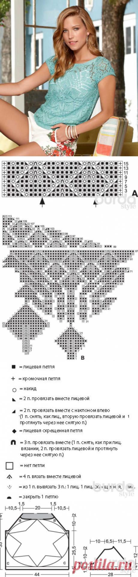 Пуловер с ажурной «звездой» - схема вязания спицами. Вяжем Пуловеры на Verena.ru