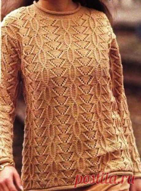 Модный пуловер спицами с красивейшим узором. | Рукоделие с Яной | Яндекс Дзен