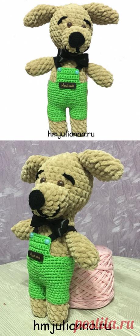 Купить мягкую игрушку собачку, плюшевая в зелёных шортах, 25 см.Мастерская рукоделия Анны Ганоцкой