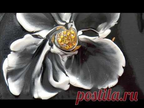 Цветок со стразами. Интересная и очень легкая техника создания цветка. Inlay. - YouTube