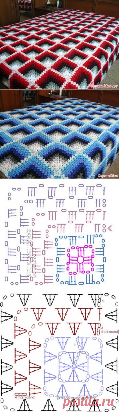 Красный вязаный плед 3D (Вязание крючком) – Журнал Вдохновение Рукодельницы
