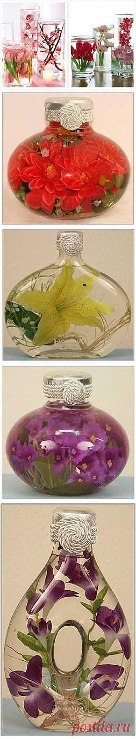 Цветы в глицерине,желатине и соли..