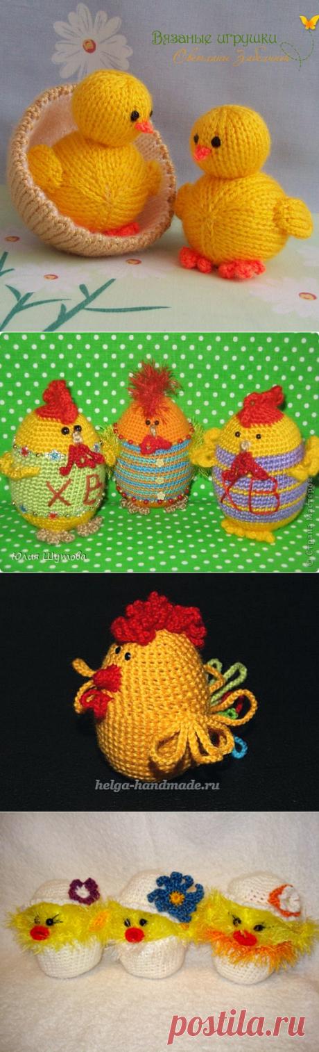 Много, много вязаных цыплят - сувениры к Пасхе